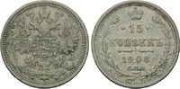 15 Kopeken 1908, Russland, Nikolaus II., 1894-1917, gereinigt, ss  5,00 EUR  zzgl. 6,40 EUR Versand