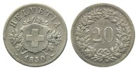 20 Rappen 1850, Straßburg,  Schweiz, Bundesstaat, seit 1848, ss  25,00 EUR  zzgl. 6,40 EUR Versand