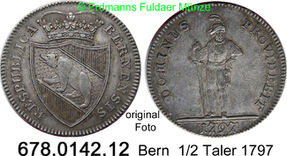 1/2 Taler 1797 Schweiz Bern Stadt Respubli...