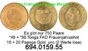 Tonga 10 + 20 Paanga  . *49,*50 FAO Frauenjahrzehnt Gold