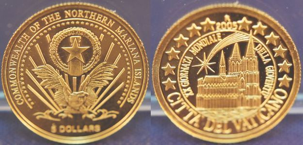 5 Dollars 2005 Marianen Goldmünze Xx Weltjugendt Citta del Vaticano;