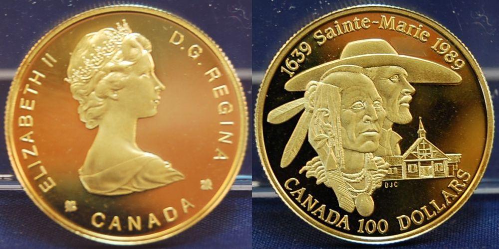 Kanada 100 Dollar Gold, 1989, 1/4 Unze, Pp mit Originalschatulle und