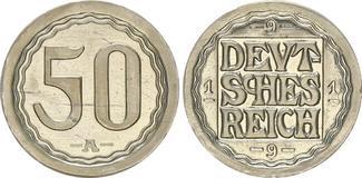 50 Pfennig Messing vernickelt 1919 A Kaise...