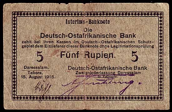 Deutsch Ostafrika 5 Rupien 1915 Interims Banknote mit ovalem Bankstem