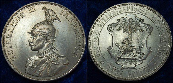 Deutsch-ostafrika 2 Rupien 1893 seltene Erhaltung fast prägefrisch !!