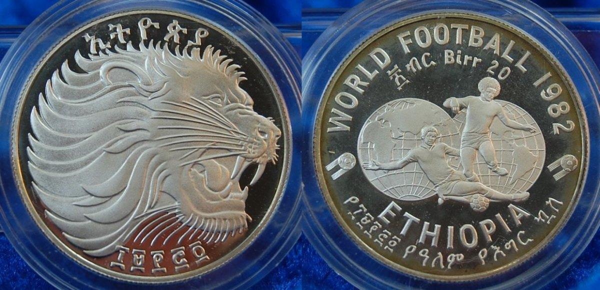 Äthiopien 20 Birr 1982 Fußball/löwenkopf, Silber Pp, 925, 23,33g