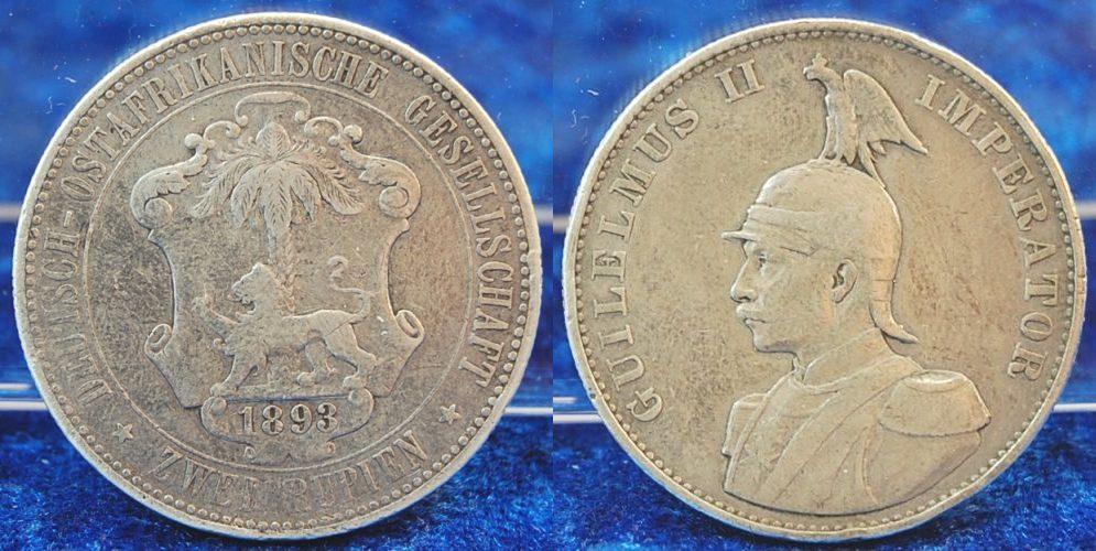 Deutsch-ostafrika 2 Rupien 1893 kleine Randfehler, fast ss Kolonien D