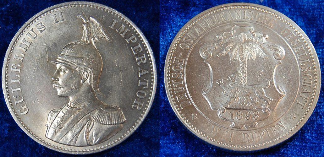Deutsch-ostafrika 2 Rupien 1893 seltene Erhaltung vz / vz-st Kolonien