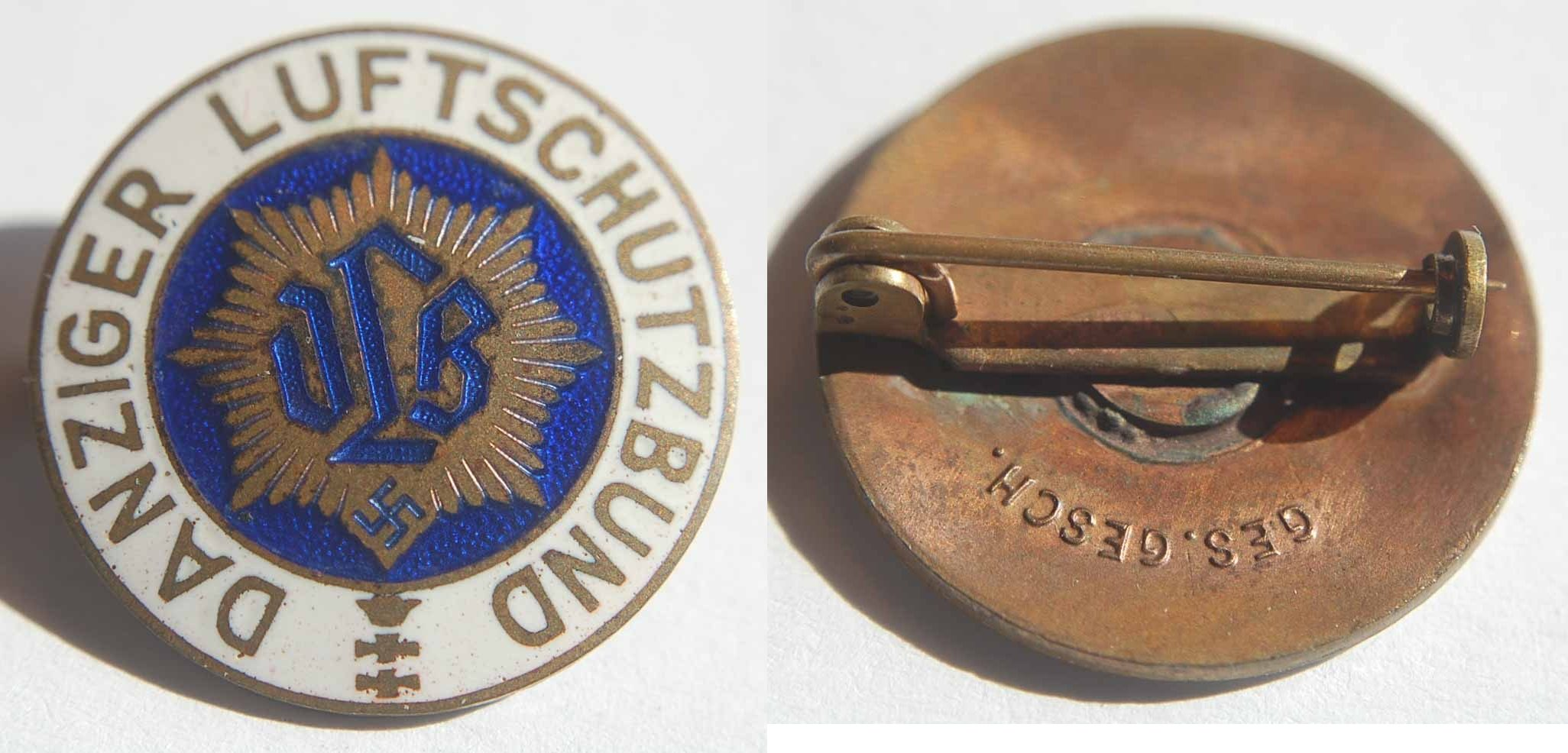 Emailliertes und vergoldetes Abzeichen Danziger Luftschutzbund Polen