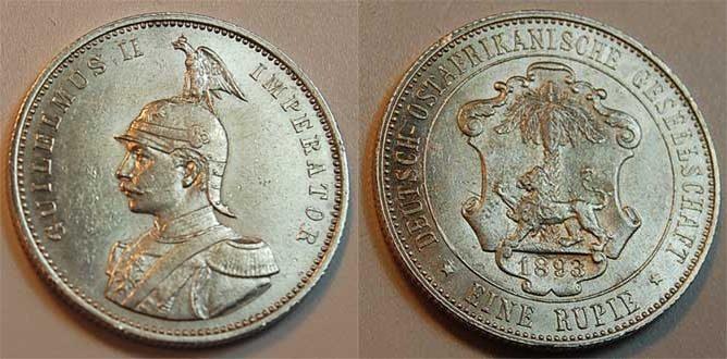 Deutsch-ostafrika 1 Rupie 1893 vz Kolonien Deutsch-ostafrika