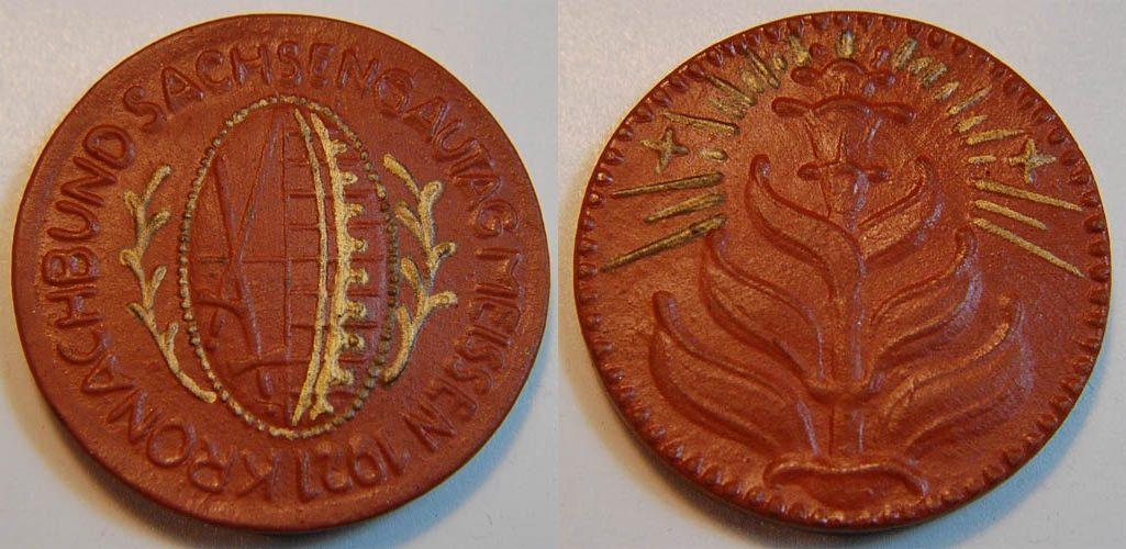 Porzellanmedaille 1921 Sachsengautag Meissen Kronachbund braun mit Go