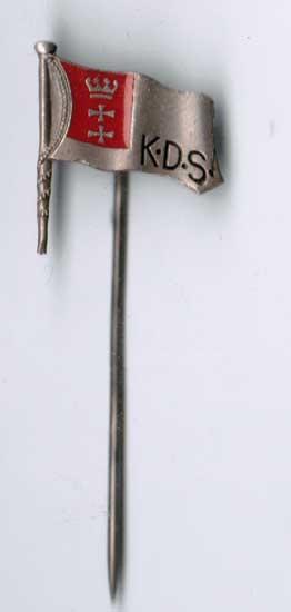Emailliertes und silberfarbenes Abzeichen mit Danziger Wappen K D S P