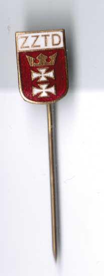 Emailliertes und vergoldetes Abzeichen mit Danziger Wappen Zztd Polen