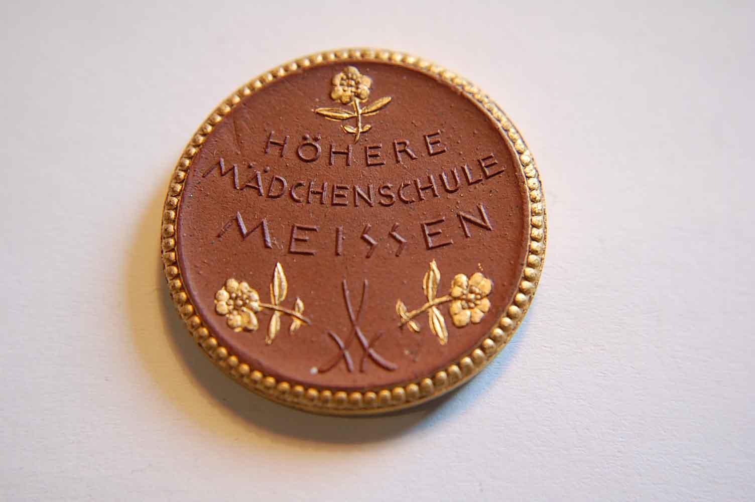 Meissen Medaille 1921 Schulfest Höhere Mädchenschule Meissen Porzella