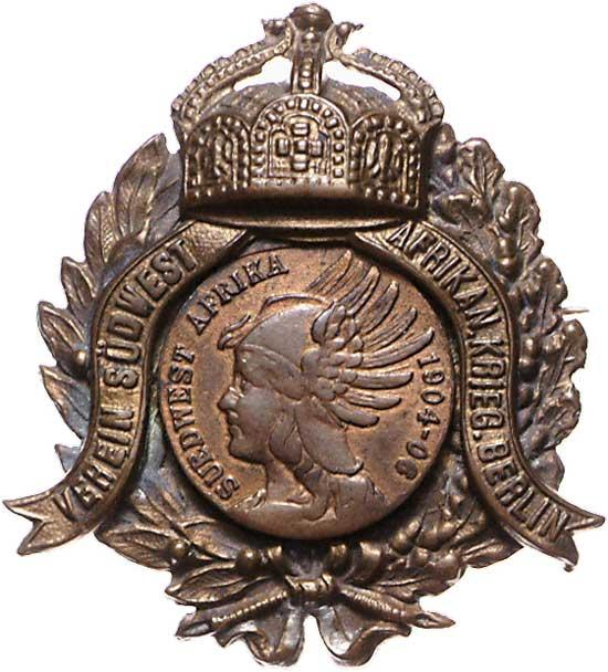 Kolonien: Bronze Abzeichen Südwest Afrika Krieger Berlin 1904-06 Deut