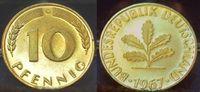 10 Pfennig 1967 G Deutschland BRD 10 Pfennig 1967G, seltenes Jahr und M... 50,00 EUR
