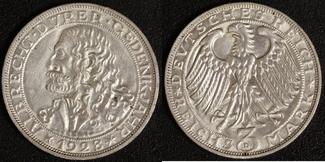 3 Mark 1928 Weimar A. Dürer vz, kl.Rf