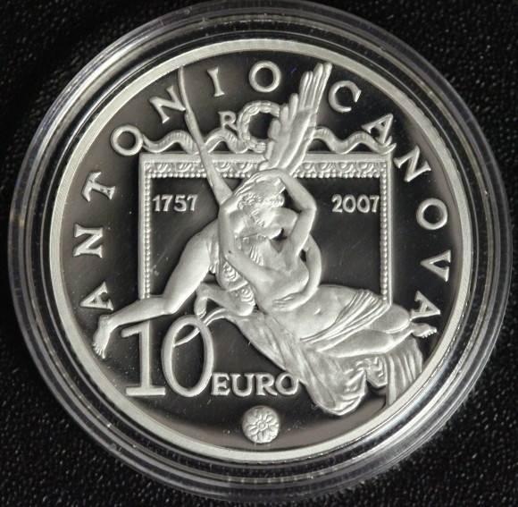 10 Euro 2007 Italien A. Canova FB / OVP / Zert.