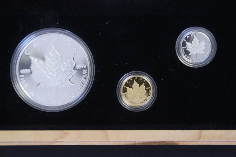 3 x 5 $ 1989 1 x 1 Oz Ag 1 x 1/10 Oz Au 1 x 1/10 Oz Pt Canada 3 x 5 D