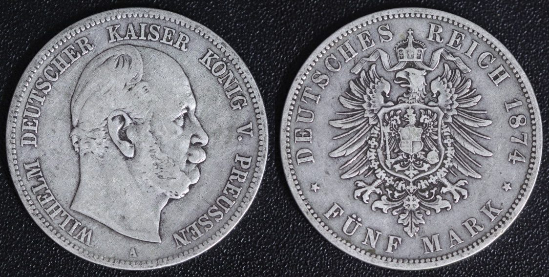 Wilhelm I Preußen 5 Mark 1874 A