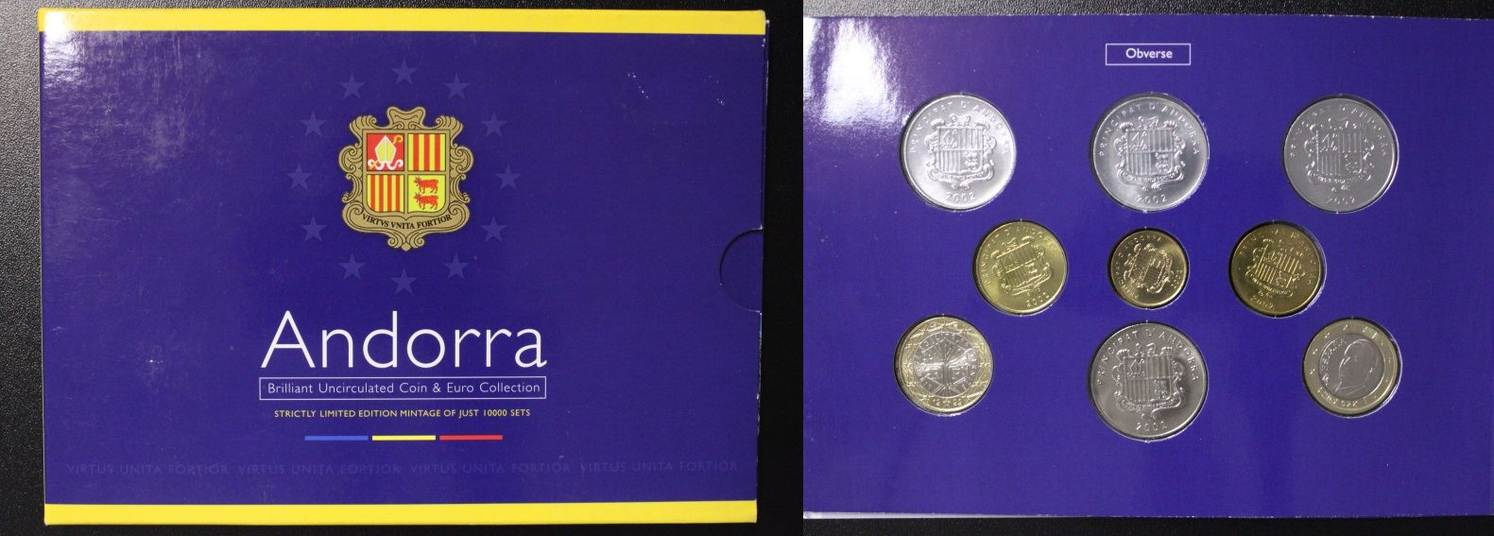 Andorra Original-kursmünzensatz Centims Euro Kms 2002