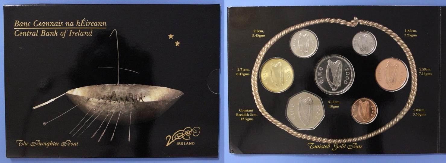 Millenium-satz Broighter Boat selten Irland Kursmünzensatz 2000