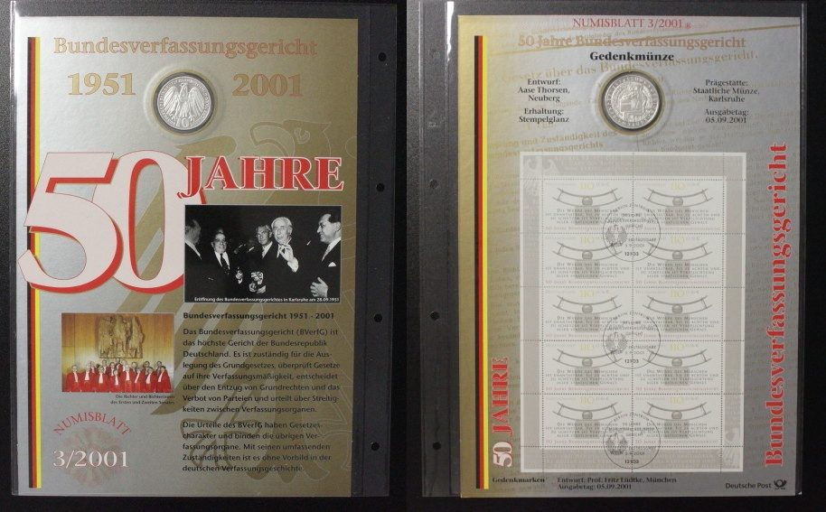 Bundesverfassungsgericht Numisblatt Brd 10 Mark 2001
