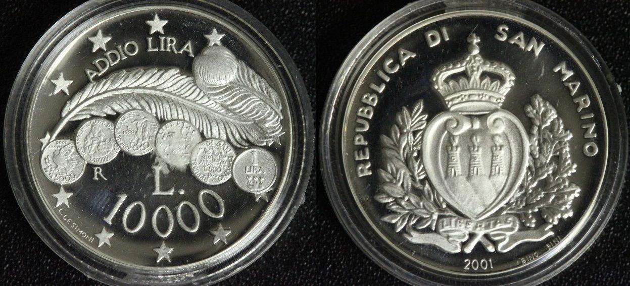 Einführung des Euro Abschied der Lira San Marino 10000 Lire 2001