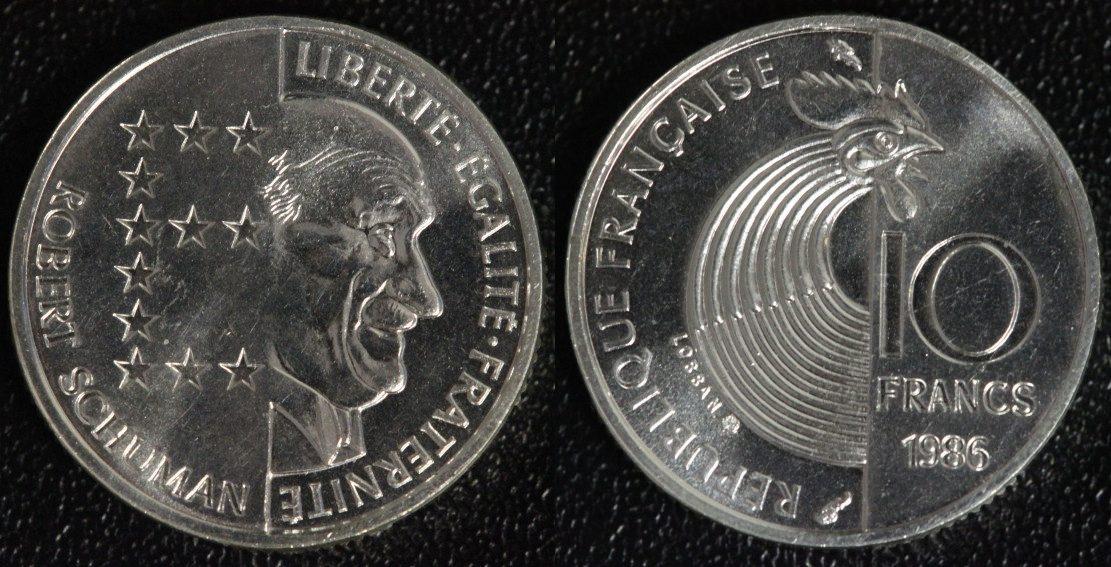 Robert Schuman Silber Frankreich 10 Francs 1986