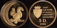 5 Diners 1994 Andorra 5 Diner- Eichhörnchen   75,00 EUR  zzgl. 5,00 EUR Versand