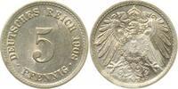 5 Pfennig 1908F vz/stgl !!!