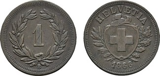 Rappen 1866, B. SCHWEIZ  Vorzüglich +