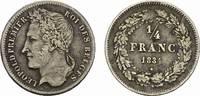 1/4 Franc 1834. BELGIEN Leopold I., 1830-1865. Sehr schön.  95,00 EUR  zzgl. 4,50 EUR Versand