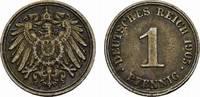 1 Pfennig 1905, J. Deutsches Reich  Sehr schön.  10,00 EUR  zzgl. 4,50 EUR Versand