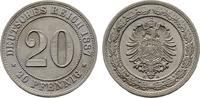 20 Pfennig 1887, A. Deutsches Reich  Stempelglanz  feinst  100,00 EUR  zzgl. 4,50 EUR Versand