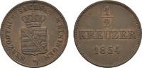 1/2 Kreuzer 1854. SACHSEN Bernhard Erich Freund, 1803-1866. Sehr schön-... 10,00 EUR