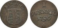 Ku.-Pfennig 1796. SACHSEN Carl August, 1775-1828. Sehr schön.  22,00 EUR