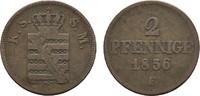 Ku.-2 Pfennig 1856 F SACHSEN Johann, 1854-1873. Sehr schön  8,00 EUR