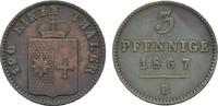 Ku.-3 Pfennig 1867. WALDECK Georg Victor, 1852-1893. Sehr schön.  6,00 EUR  zzgl. 4,50 EUR Versand