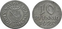 10 Pfennig 1920. BREMEN  Etwas rauh, sonst Vorzüglich.  5,00 EUR  zzgl. 4,50 EUR Versand