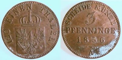 3 Pfennig 1856 A Brandenburg-preußen