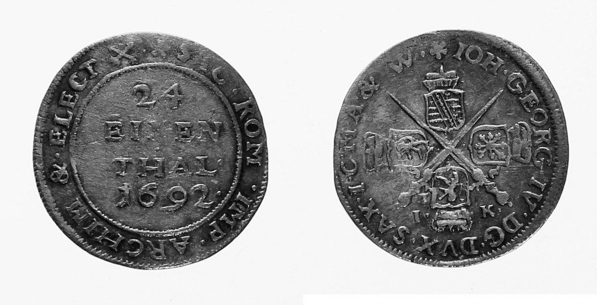 Johann Georg Iv , 1/24 Taler 1692 Ik, Dresden Sachsen, albert Linie