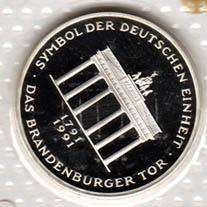 10 Dm 200 Jahre Brandenburger Tor Pp, 1991 A, in Folie Brd Silber
