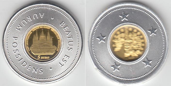 Frankreich, Goldmünze quot;abtei von Clunyquot;, 5 Euro, Pp 2010
