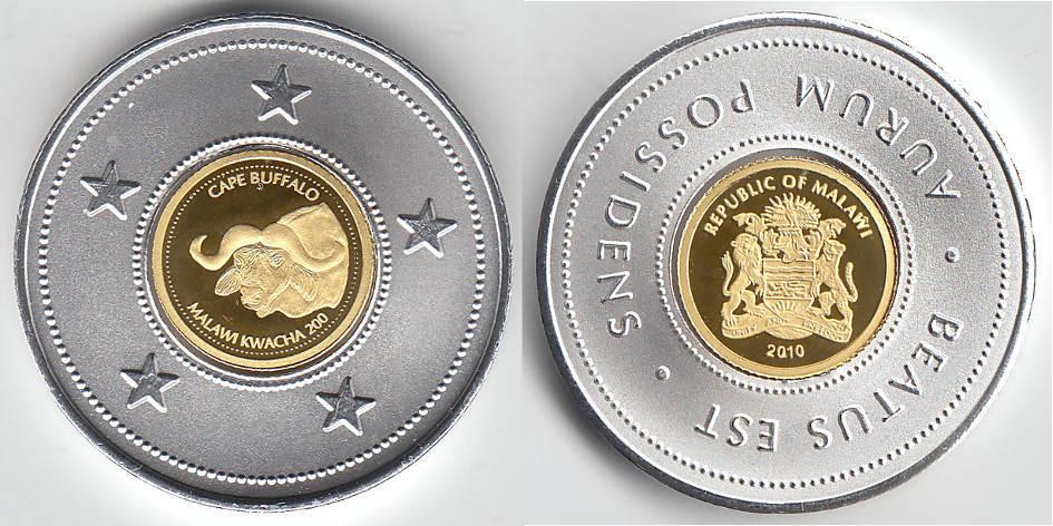 Malawi, Goldmünze 200 Kwacha, Kapern-büffel, siehe Scan 2010