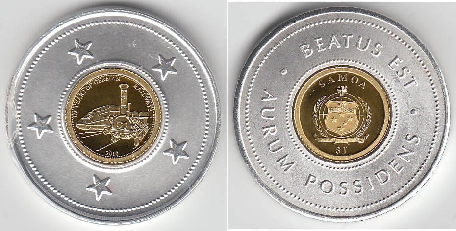 Samoa, 1 Dollar Goldmünze, Erste Deutsche Eisenbahn Adler, siehe Scan