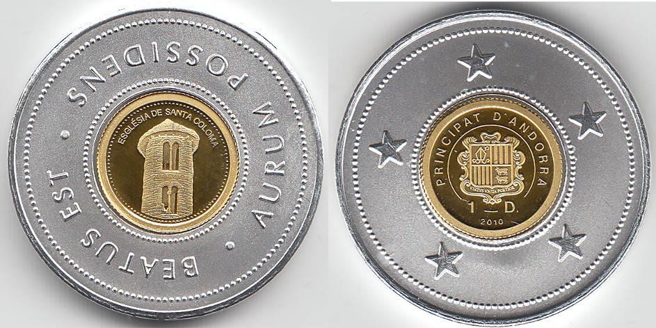Andorra, 1 Dinar Goldmünze, Kirche Santa Coloma, siehe Scan 2010