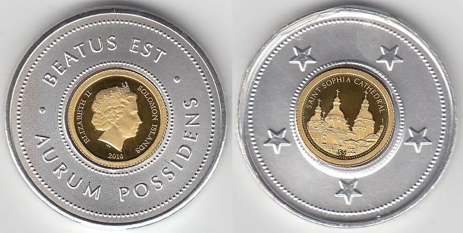 Salomonen, Goldmünze 5 Dollar, Saint Sophia Cathedral, siehe Scan Sal