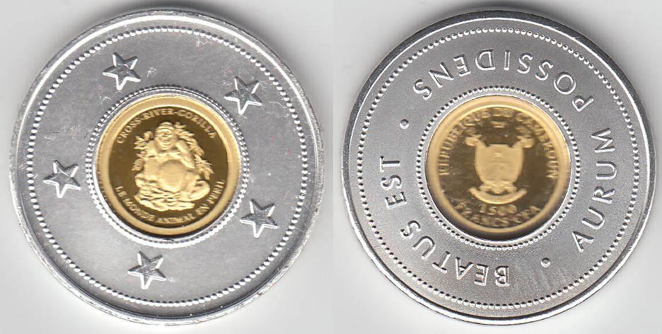 Kamerun, Goldmünze 1500 Francs, Gorilla, siehe Scan 2010