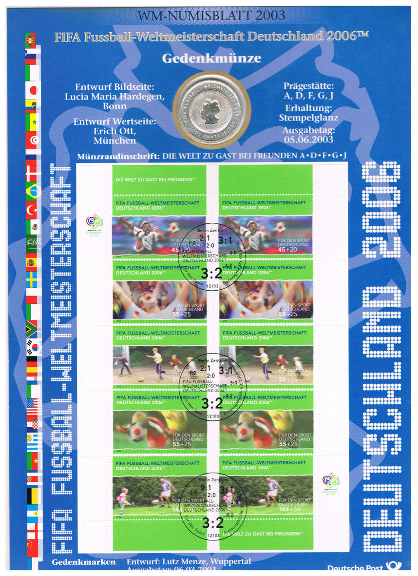 Deutschland, Wm-numisblatt 2003 mit 10-€-münze Fifa-fussball-wm 2006